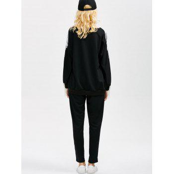 Fringed Beading Decorated Sweatshirt and JoggerPants - BLACK L