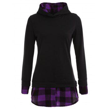 Plaid Panel Long Sleeve Hoodie