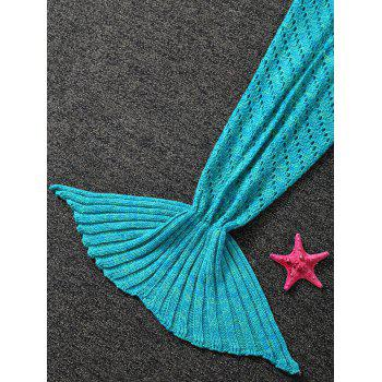 Hollow Out Crochet Mermaid Blanket For Kids -  BLUE GREEN