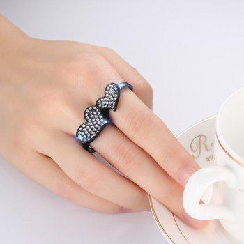 Rhinestone Heart Double Fingers Ring