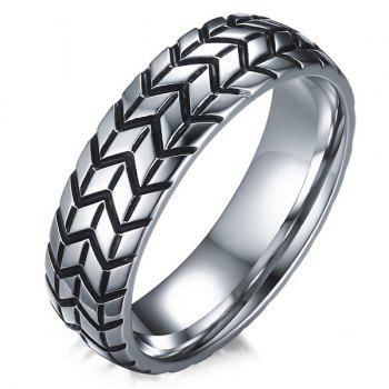 Engraved Tire Alloy Ring - SILVER SILVER