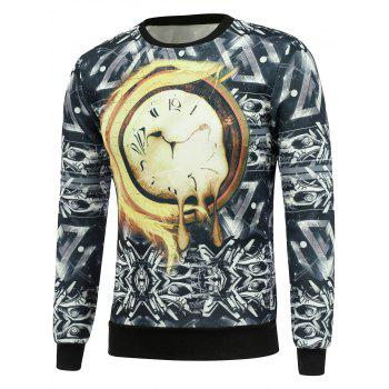 Crew Neck Abstract Clock Print Sweatshrit