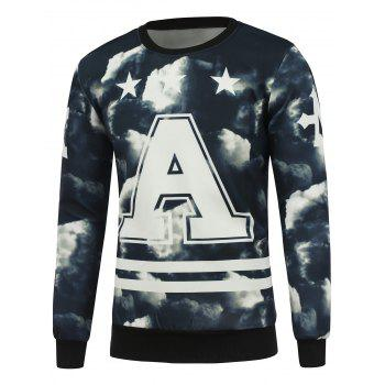 3D Cloud Print Crew Neck Pullover Sweatshrit