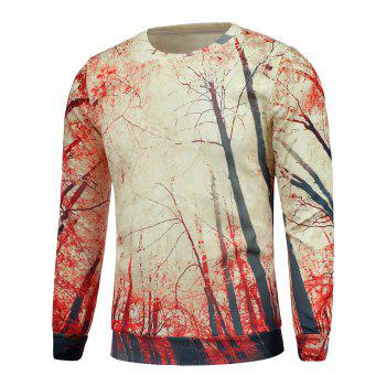 Long Sleeve Trees 3D Print Crew Neck Sweatshrit