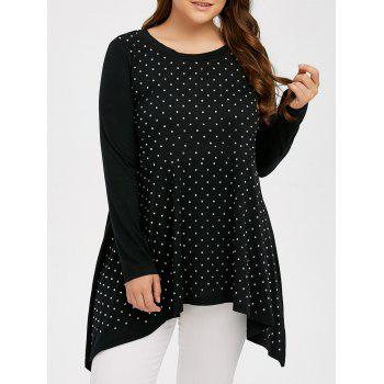 Plus Size Rhinestone Decorated T-Shirt with Long Sleeve