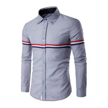 Stripe Panel Long Sleeve Button Down Shirt