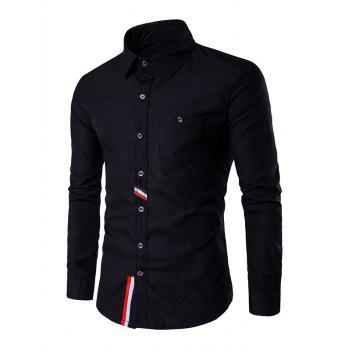 Buy Button Front Striped Chest Pocket Back Pleat Shirt BLACK