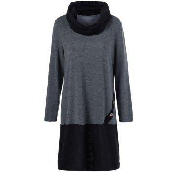 Removable Collar Long Sleeve Shift Dress