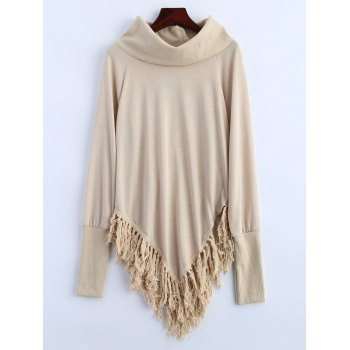 Turtleneck Tassel Asymmetric Sweater