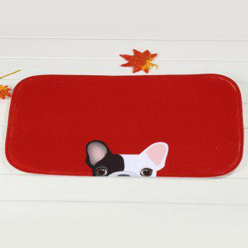 Cute Dog Pattern Antislip Absorbent Living Room Door Bath Mat -  RED