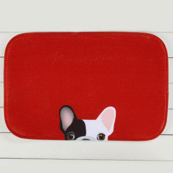 Cute Dog Pattern Antislip Absorbent Living Room Door Bath Mat - RED RED