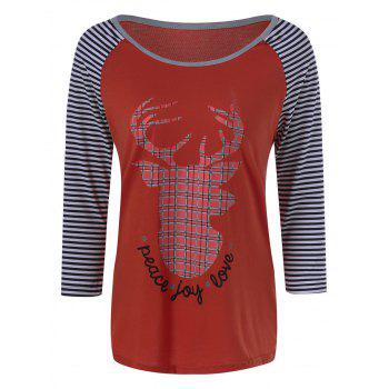 Deer Christmas Striped Baseball Tee