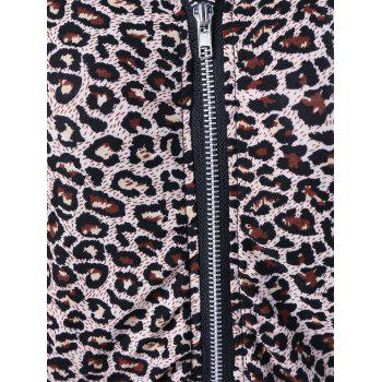Athletic Pants With Leopard Zipper Hoodie - BLACK L