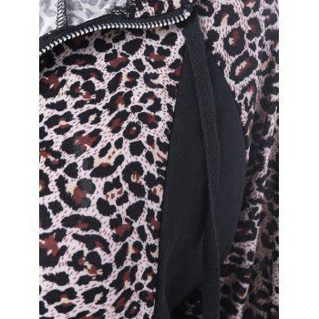 Athletic Pants With Leopard Zipper Hoodie - BLACK S