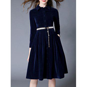 Fit and Flare Velvet Dress With Belt