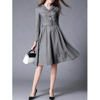 Lapel Fit and Flare Dress With Belt