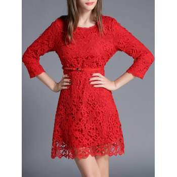 Lace Crochet Mini Dress With Belt