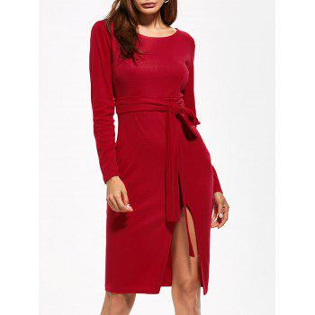 Round Neck Furcal Belted Bodycon Dress