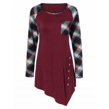 Plaid Trim Side Button Asymmetrical Tee