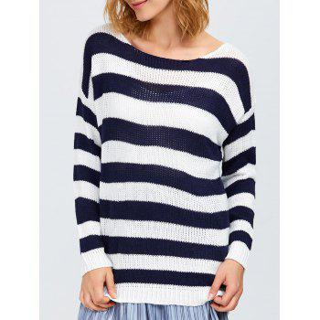 Round Neck Striped Tunic Sweater