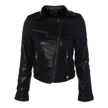 Zipper Pocket PU Leather Biker Jacket
