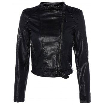 Inclined Zippered PU Leather Biker Jacket
