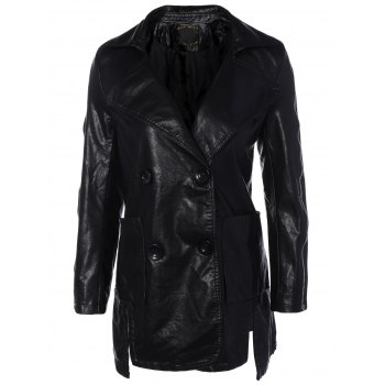 Lapel Collar Double Breasted PU Leather Coat