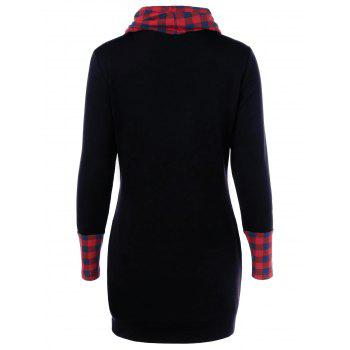 Casual Cowl Neck Plaid Trim Dress with Pockets - RED/BLACK M