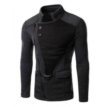 Turndown Collar Asymmetrical Zip Up Insert Jacket