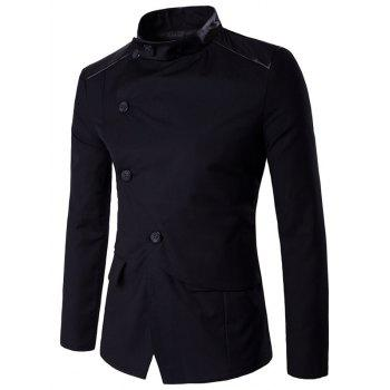 Stand Collar Side Button Up PU Insert Jacket