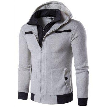 Multi Zippers Embellished Faux Twinset Hoodie