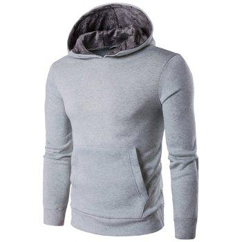 Buy Kangaroo Pocket Design Cotton Blend Pullover Hoodie LIGHT GRAY