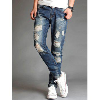 Slim Fit Destroyed Zipper Fly Straight Jeans