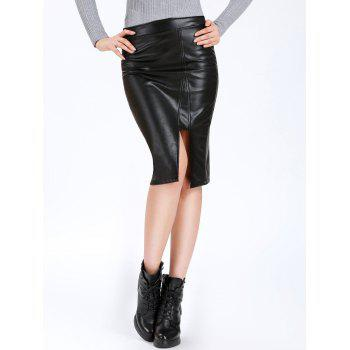 High Waisted Mid Calf PU Leahter Skirt
