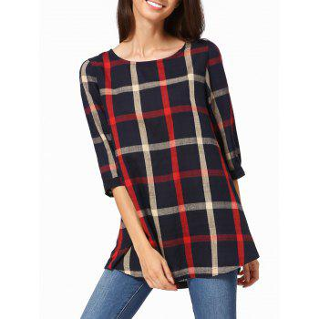 3/4 Sleeve High Low Plaid T-Shirt