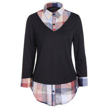 Plus Size Faux Twinset Plaid Shirt