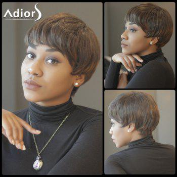 Spiffy Short Straight Capless Inclined Bang Synthetic Wig - BROWN BROWN