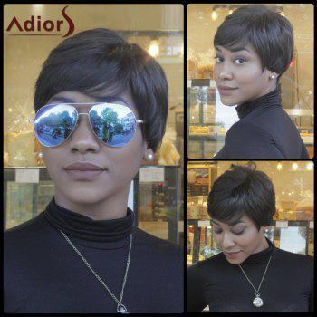 Buy Short Fluffy Faddish Slightly Curled Synthetic Capless Wig BLACK