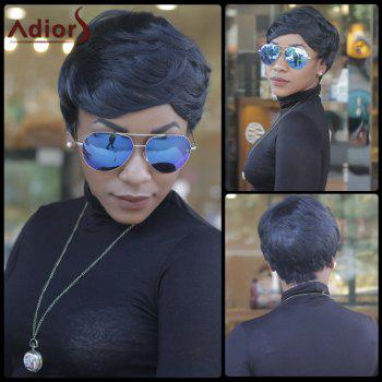 Short Fluffy Slightly Curled Side Bang Synthetic Capless Pixie Cut Wig