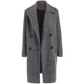 Checked Buttoned Wool Coat