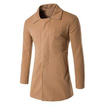 Wool Blend Back Vent Covered Button Coat