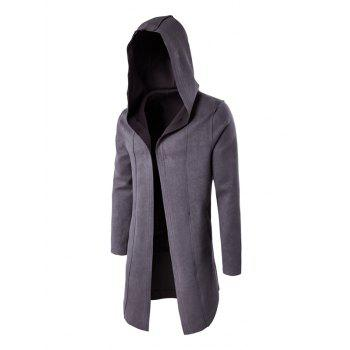 Plain Open Front Hooded Coat