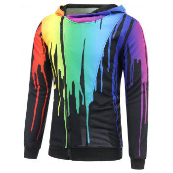 Asymmetrical Zip Paint Dripping Hoodie