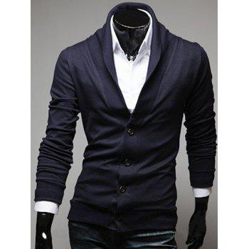 Plain Shawl Collar Button Front Cardigan