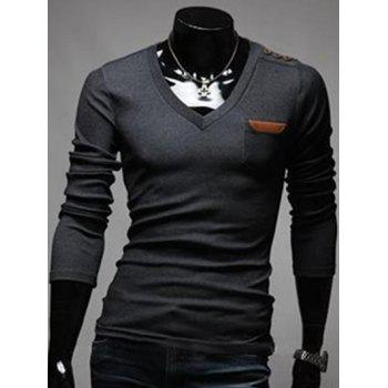 Buttoned Chest Pocket V Neck T-Shirt