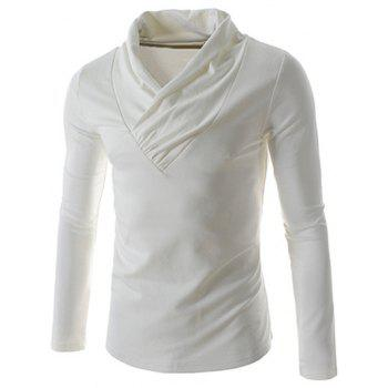 Plain Ruched Collar Long Sleeve T-Shirt