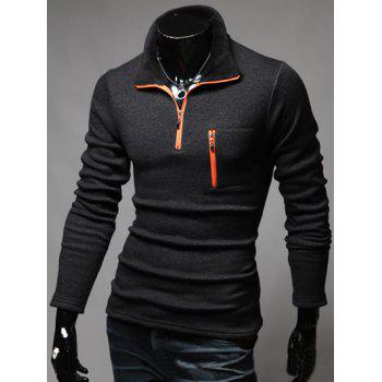 Contrast Zip Long Sleeve T-Shirt