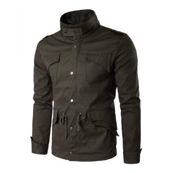 Epaulet Design Multi Pocket Drawstring Waist Jacket