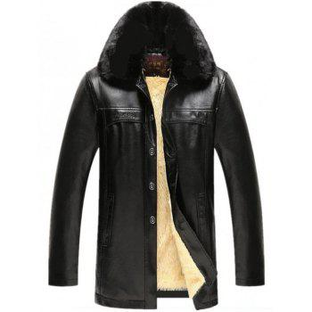Buy Plush Lining Faux Fur Collar PU Leather Jacket BLACK