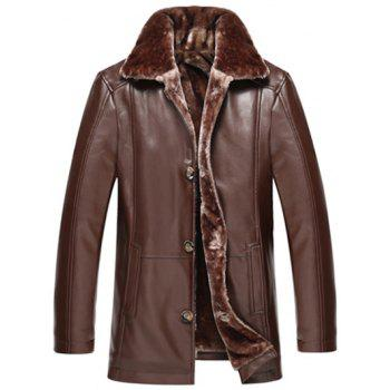 Flocking Button Front PU Leather Jacket